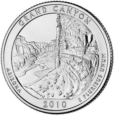 2010 D Grand Canyon Arizona America the Beautiful BU Quarter from U.S. Mint Roll