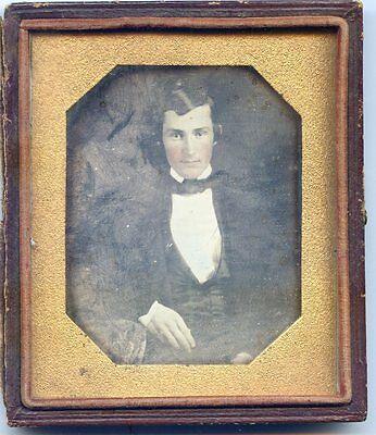 Smooth Very Sharp Daguerreotype Handsome Young Man Hand Painted