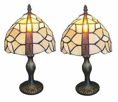 Pair of Vintage Style Table Tiffany Lamps in Antique Brass Bedside Lights