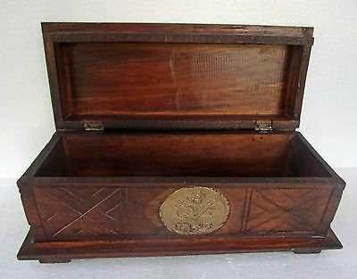 "Unusual Storage Trunk Antique ""Dutch East India Co"" Hand Made Colonial Trunk SML"