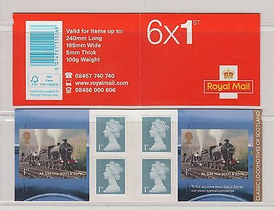 GB STAMP BOOKLET 2013 Classic Loco Scotland 6 x 1st    CYLINDER NUMBER