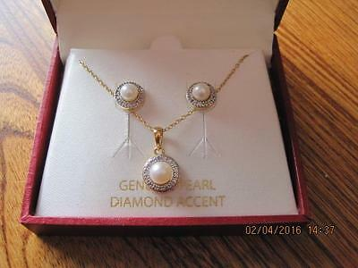 GENUINE PEARL DIAMOND ACCENT 18 KT Gold over Sterling Dainty Necklace & Earrings