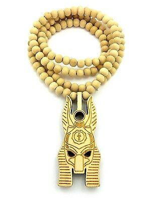 "Egyptian God Anubis Head Pendant 8mm 36"" Wooden Bead Necklace XJ232"