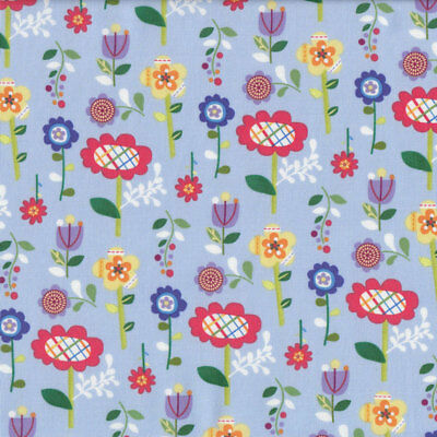 Cute Colourful Garden Flowers Mother Goose Tales on Blue Quilt Fabric FQ or Metr