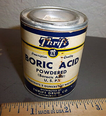 vintage Thrift brand Boric Acid container - powdered Boracic Acid unopened 2 oz