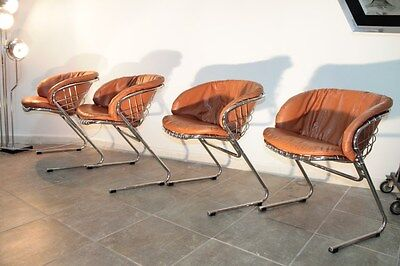 Gastone Rinaldi four chairs 1970s leather and steel chrome