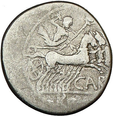 Roman Republic Cn. Carbo ROMA JUPITER HORSE 121BC Ancient Silver Coin i16029