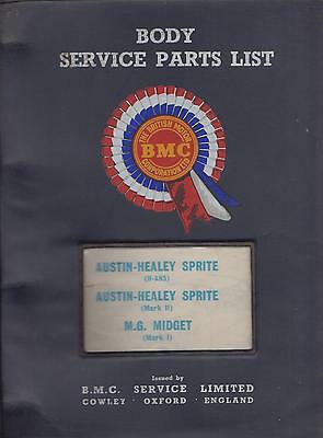 Austin Healey Frogeye Sprite & Mk2 / Mg Midget Mk1 Factory Body Parts Catalogue