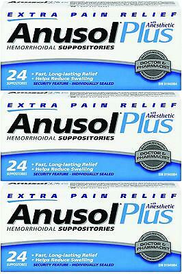 Anusol Plus Extra Relief 3 Boxes Anesthetic Hemorrhoid Suppositories - 72 Total