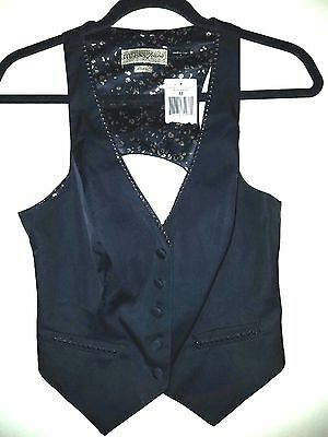 GUESS JEANS Vest NWT Black W/Beading & Cutout Back SEXY!!