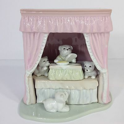Bull Dog Porcelain Figurines 4 Dogs Puppies Pink Bed