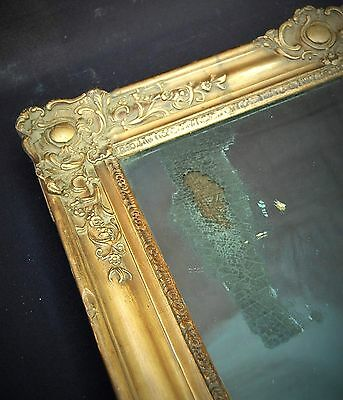 """Original Antique 19th Century French Square Solid Wood Mirror 33"""" height"""