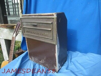 Bronze  Payments Here Drop Box Vintage Rental Electric Telephone Architectural