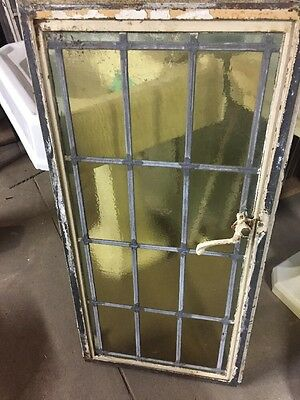 "Old Metal Case Window With The Leaded Glass 18x38.5"" steel sash window"