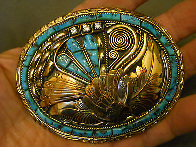 "Turquoise sterling silver gold fil buckle 3 7/8"" x 3"" 80 grams signed FT"