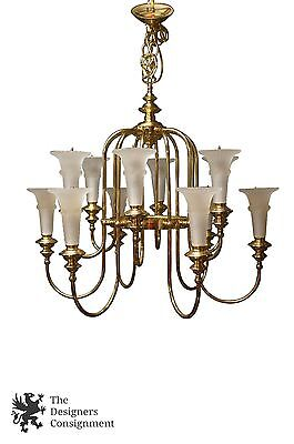 Mid Cent 12 Light Brass Regency Style Chandelier Frosted Tulip Shades Bird Cage