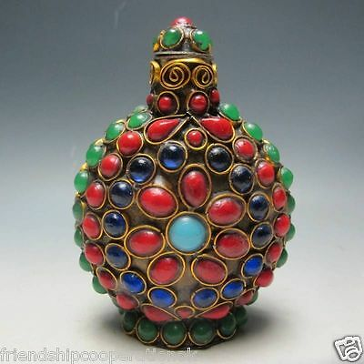 Tibet Old Handwork Turquoise Coral Beads Snuff Bottle
