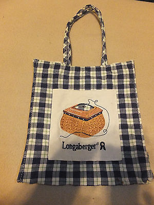 Longaberger Tote Bag With Sewing Basket Plaid Blue Green