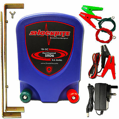 Electric Fence Energiser SRD6 Dual Powered Mains / 12V Battery 0.6J