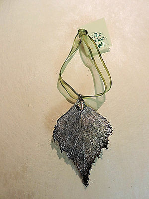 Silver Dipped BIRCH LEAF Ornament -  NWT - The Rose Lady
