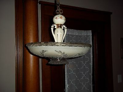 Antique 1930's Porcelier Porcelain Ceiling Light Fixture with Frosted Glass Shad