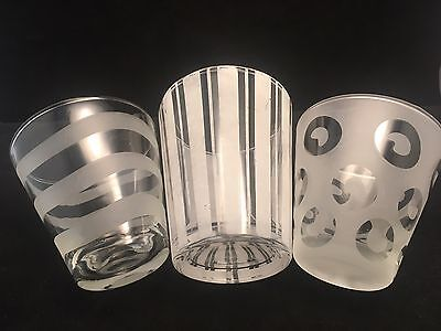 3 Glass Tumblers CLEAR and FROSTED DESIGNS