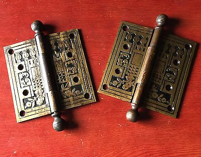 "Pair Of 4 1/2""x 4 1/2"" cast Iron With Brass Plating Victorian hinges"