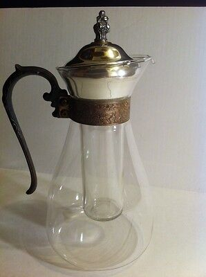 Vintage Glass Decanter/Pitcher With Silverplated Lid