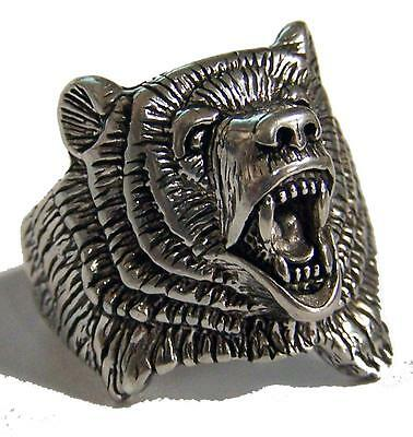 DELUXE GRIZZLY BEAR SILVER BIKERS RING #94R bears Fashion motorcycle new unisex