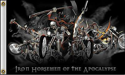 Iron Horsmen Skeletons Bikes  3 X 5 Motorcycle Deluxe Biker Flag #401 New