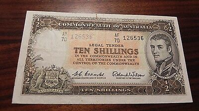 Australia ND Ten Shillings Banknote, Coombs and Wilson Nice!