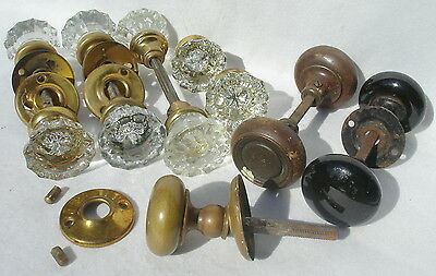 Vintage Lot 8 Glass 2 Black porcelain 3 Brass Door Knobs Architectural Salvage
