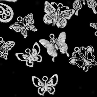 12x Mixed Tibetan Silver Butterfly Charms Pendants for Jewellery Making DIY