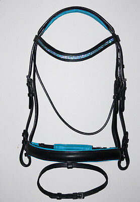 New Pony Cob Full U Curve Bridle BLUE Bling Crystal Browband Show / Dressage