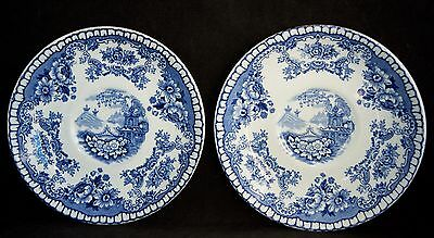 Pair of Vintage Blue Flow John Maddock & Sons BOMBAY Saucers - VGC