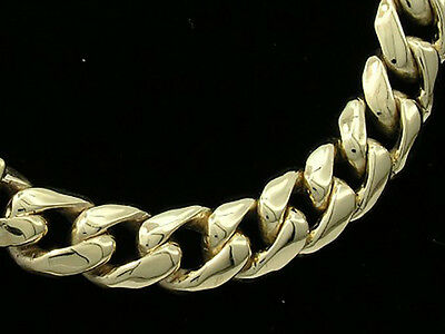 B022 - Genuine 9ct 9K SOLID Gold Thick Bevelled Curblink Bracelet Heavy Mens