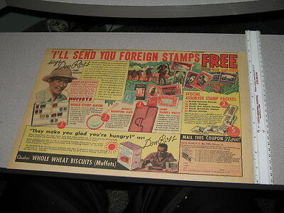 newspaper ad 1930s DON ROSS stamp foreign collecting QUAKER cereal box premium