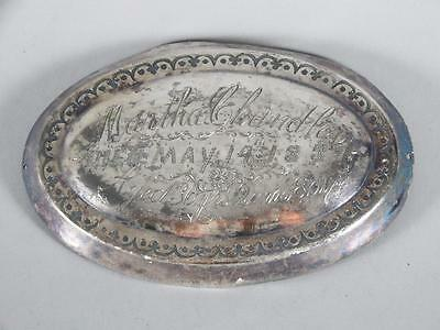 ANTIQUE SILVERPLATED COFFIN PLATE c.1887 ~ 36 YEAR OLD WOMAN~ CASKET PLAQUE