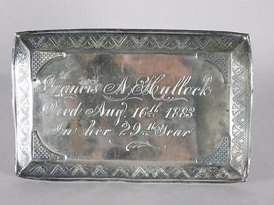 ANTIQUE SILVER PLATED COFFIN PLATE c.1883 ~ 29 YEAR OLD WOMAN~ CASKET PLAQUE