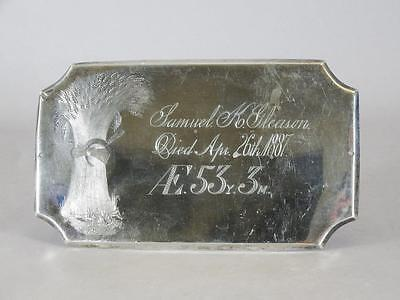 ANTIQUE SILVER PLATED COFFIN PLATE c.1887 ~ 53 YEAR OLD MAN ~ CASKET PLAQUE