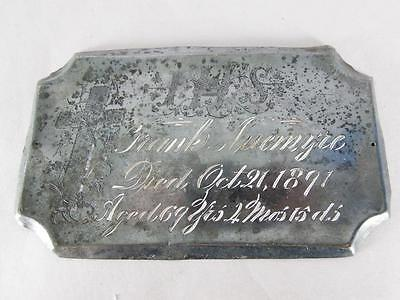 ANTIQUE SILVER PLATED COFFIN PLATE c.1891 ~ 69 YEAR OLD MAN ~ CASKET PLAQUE
