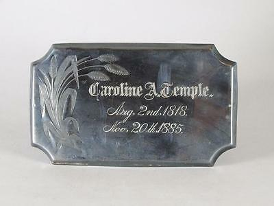 ANTIQUE SILVERPLATED COFFIN PLATE c.1885 ~ 67 YEAR OLD WOMAN~ CASKET PLAQUE