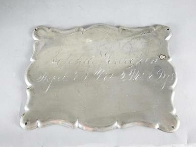 ANTIQUE SILVERPLATED COFFIN PLATE 19th CENTURY~ 70 YEAR OLD WOMAN~ CASKET PLAQUE