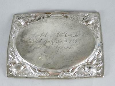 ANTIQUE SILVERPLATED COFFIN PLATE c.1893 ~ 32 YEAR OLD WOMAN~ CASKET PLAQUE