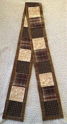 Warm Winter Holiday Scarf Flannel Cotton Unique Handcrafted Earth-tone design.