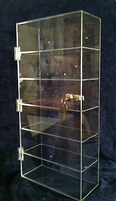 "$$ SUMMER SPECIAL $$....Acrylic Countertop Display Case Locking 12""x 4.5"" x23.5"""