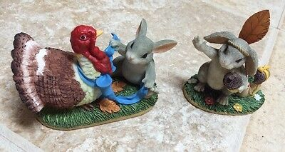 CHARMING TAILS Set of 2 Fitz & Floyd Silvestri Thanksgiving Themed Statutes