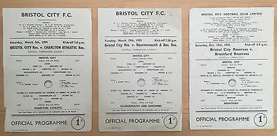 Collection Of 3 Bristol City Reserves Programmes, 1955, Single Sheets  Fair Cond