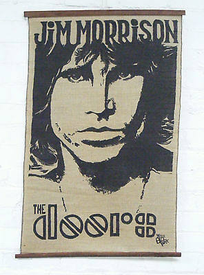 Mid century screen printed Jim Morrison the doors on hessian wall hanging signed