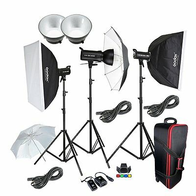 Godox 3* SK-400 400W Photo Studio Strobe Flash  Softbox Light Stand Trigger Kit